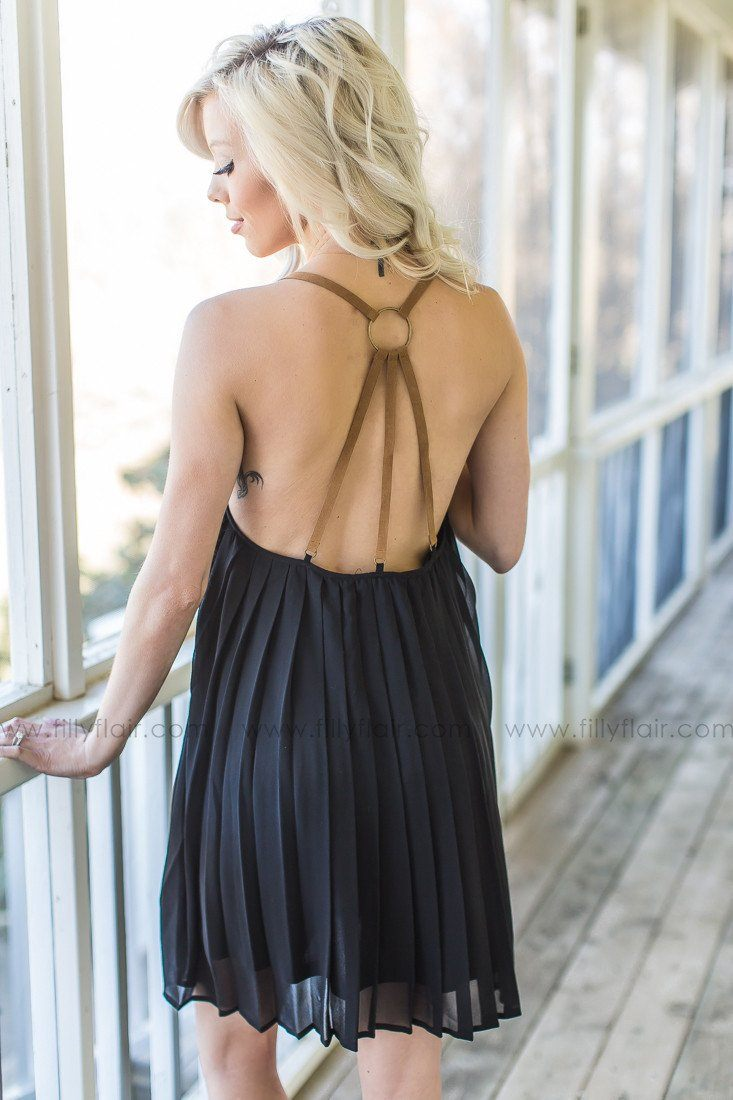 On My Mind Pleated Dress in Black