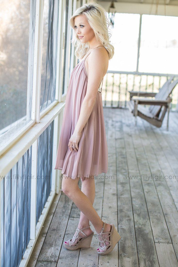 On My Mind Pleated Dress in Taupe