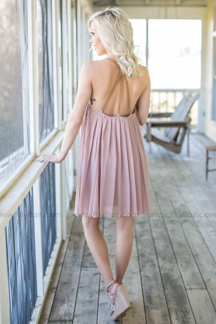 pleated boutique dress with open back
