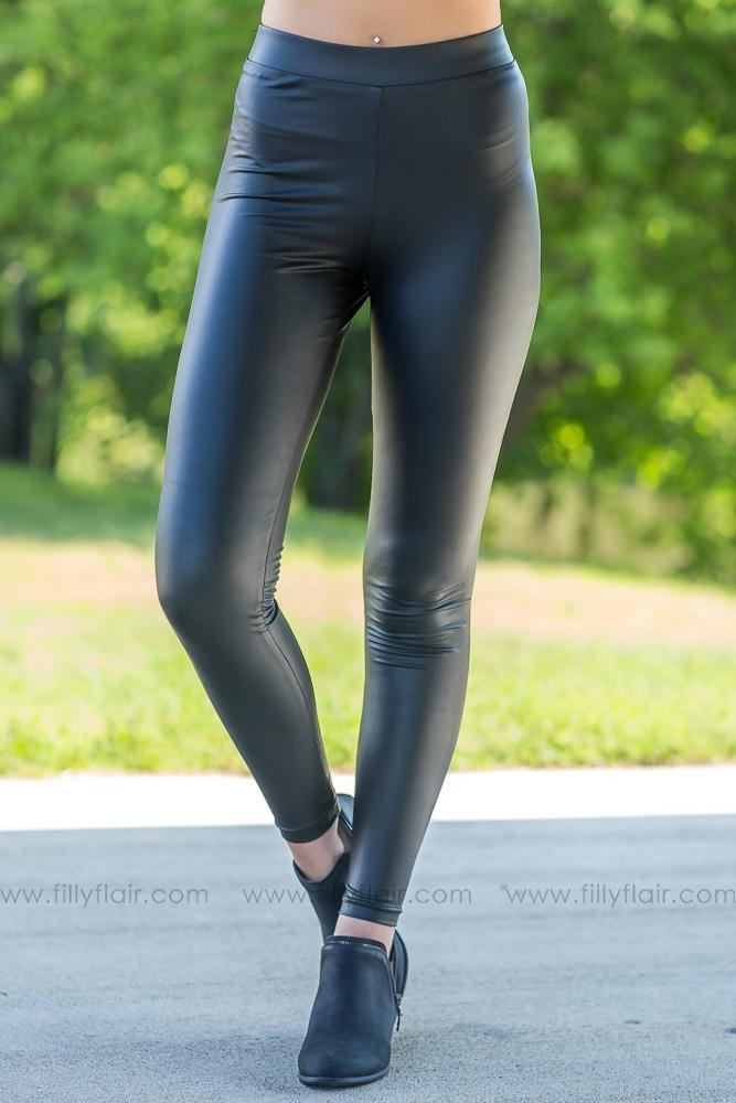 Black Beauty Faux Pleather Leggings - Filly Flair