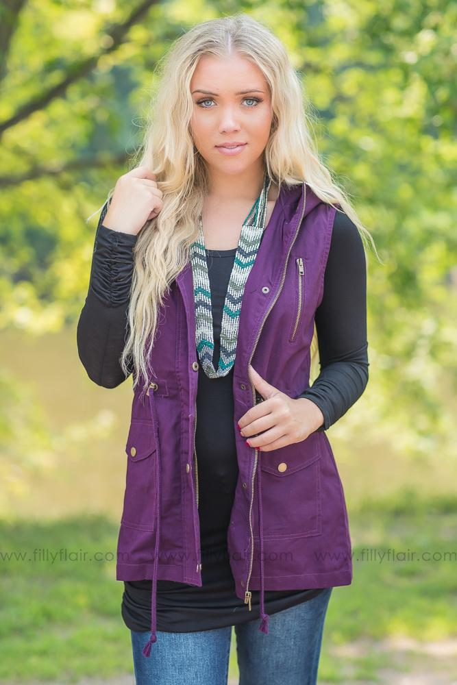 Now You See Me Hooded Utility Vest in Dark Plum - Filly Flair
