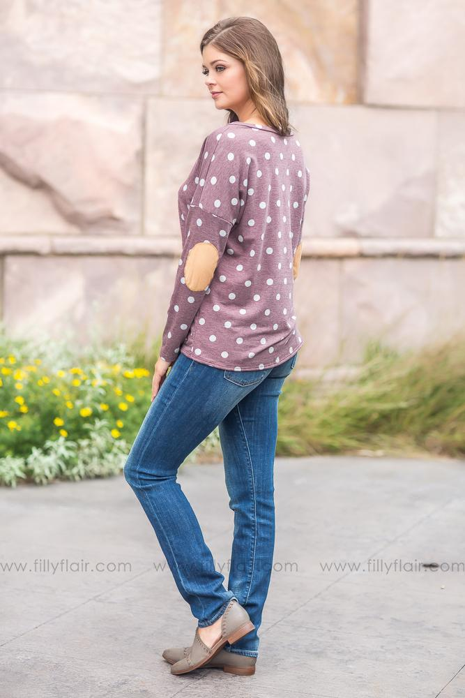Put A Smile On Polka Dot Knotted Top in Mauve - Filly Flair