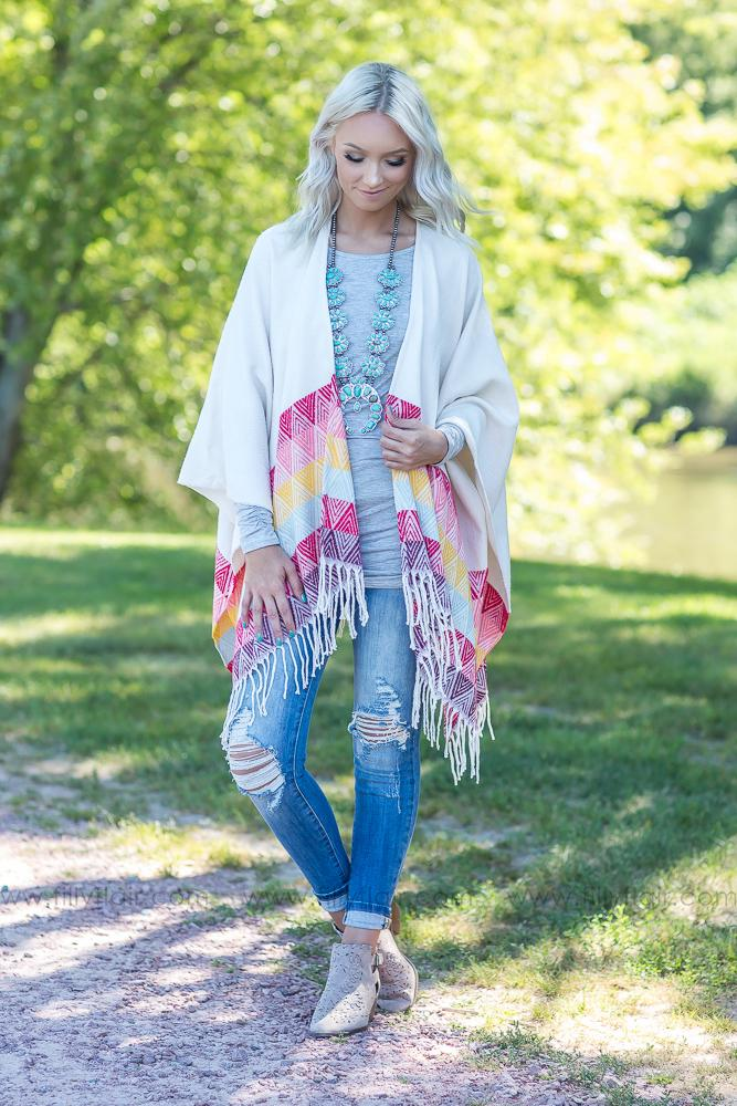 That's Why We Ride Ivory Multi Color Poncho Wrap - Filly Flair