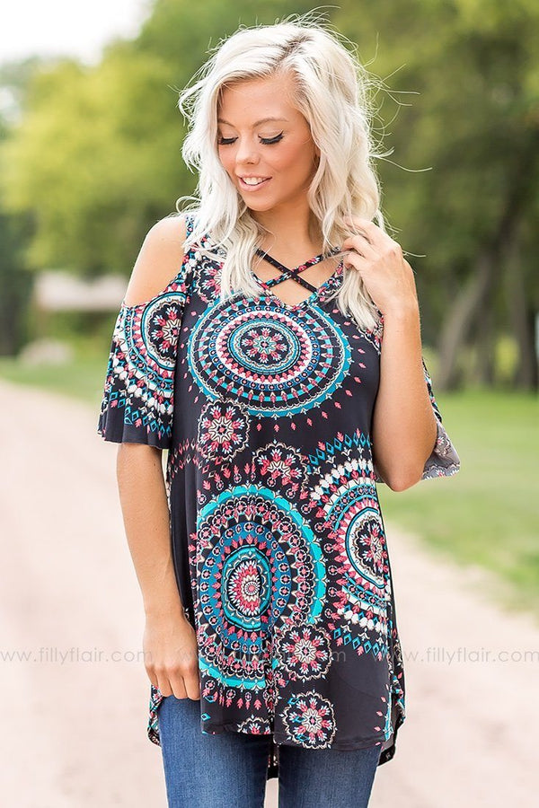 Groovy Multi Colored Printed Cold Shoulder Top