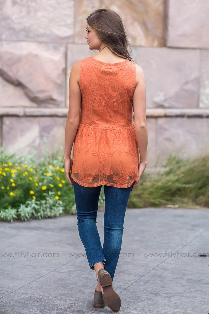 Pumpkin Spice Lace Sleeveless Babydoll Top - Filly Flair
