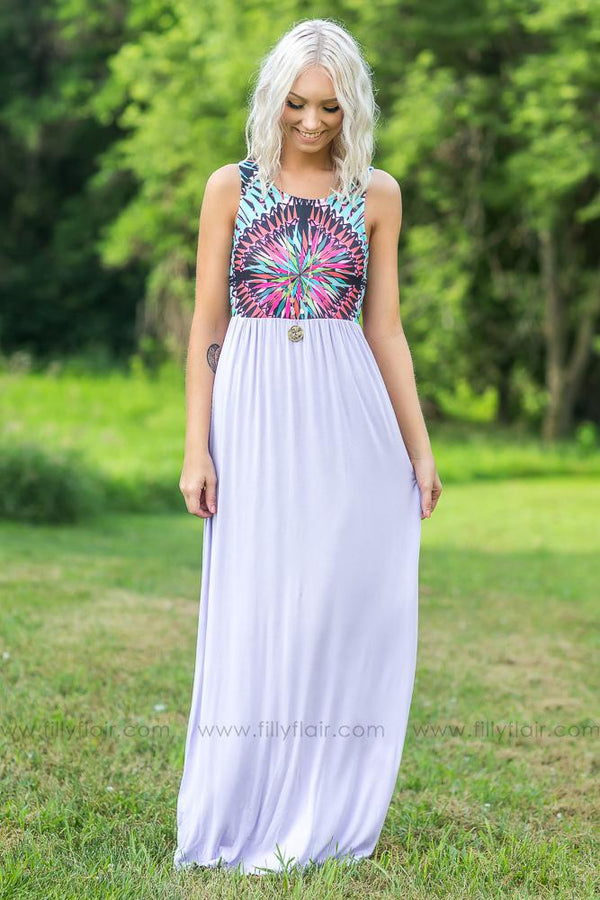 Summertime Magic Printed Maxi Dress in Lavender - Filly Flair