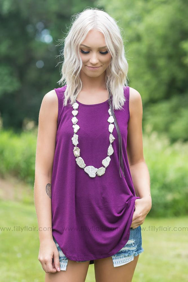 Lucky In Love Solid Tank Top In Plum - Filly Flair