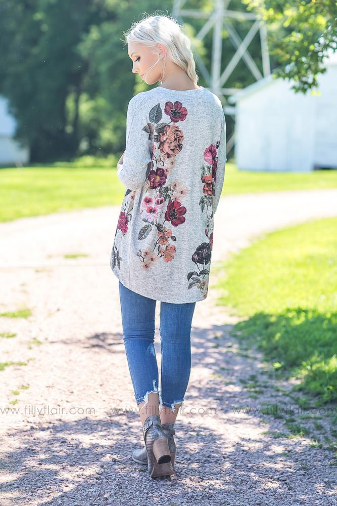 Cardigan of My Dreams in Grey Floral - Filly Flair