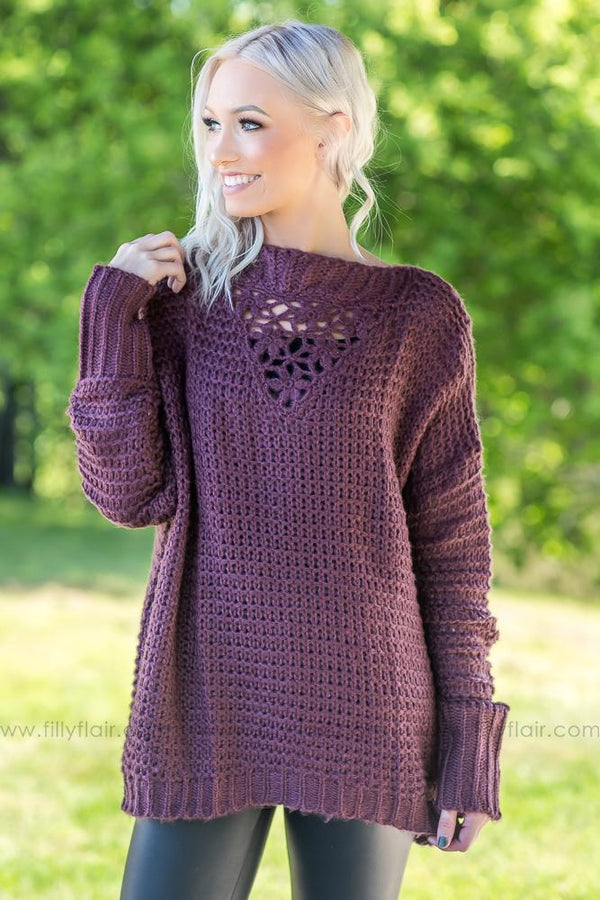 Thought of You Faded Plum Oversized Sweater - Filly Flair