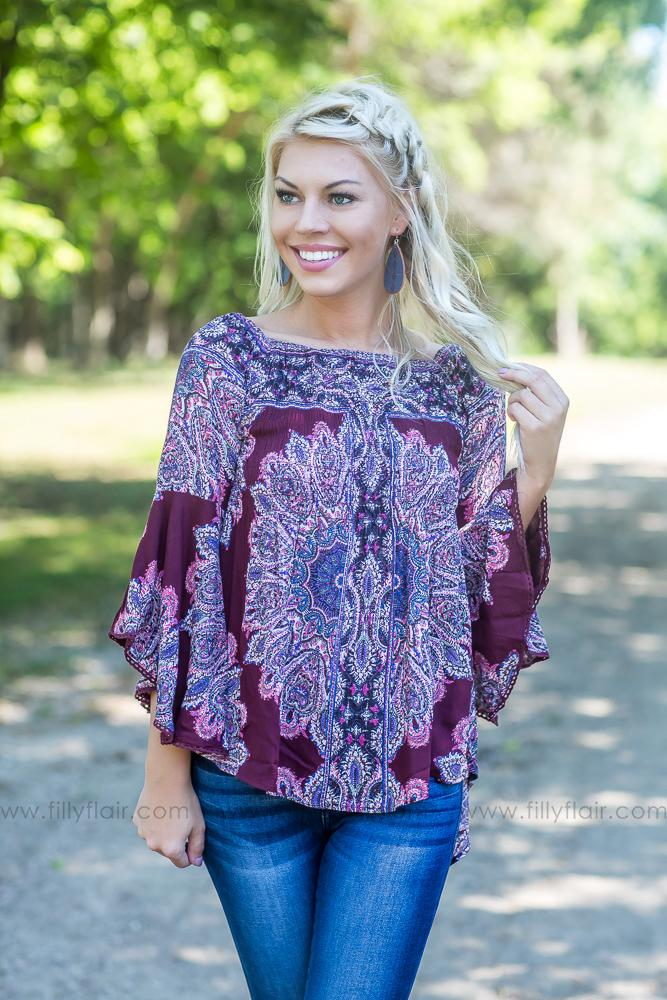 Have My Heart Off The Shoulder Paisley Top In Burgundy - Filly Flair