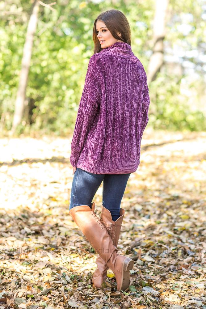 It's Your Love Oversized Turtle Neck Long Sleeve Sweater in Plum - Filly Flair