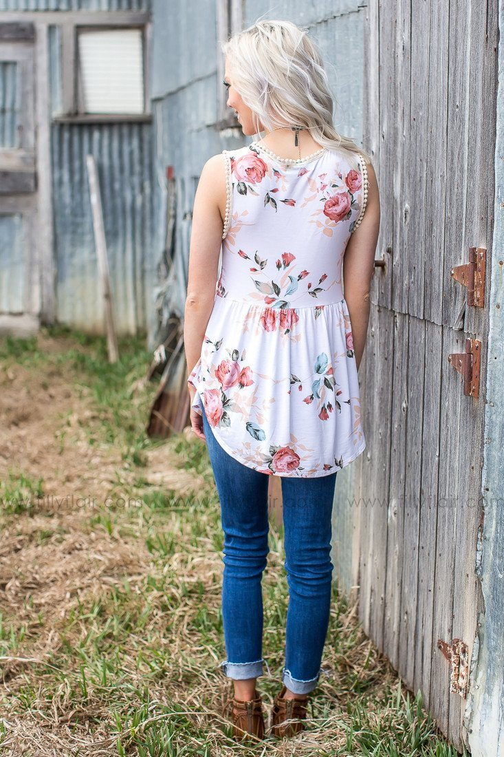 Floral and Ivory boutique tank top