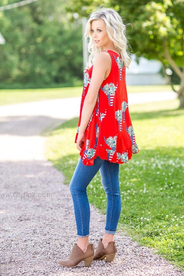 American Flag Cow Skull Printed Tunic in Red