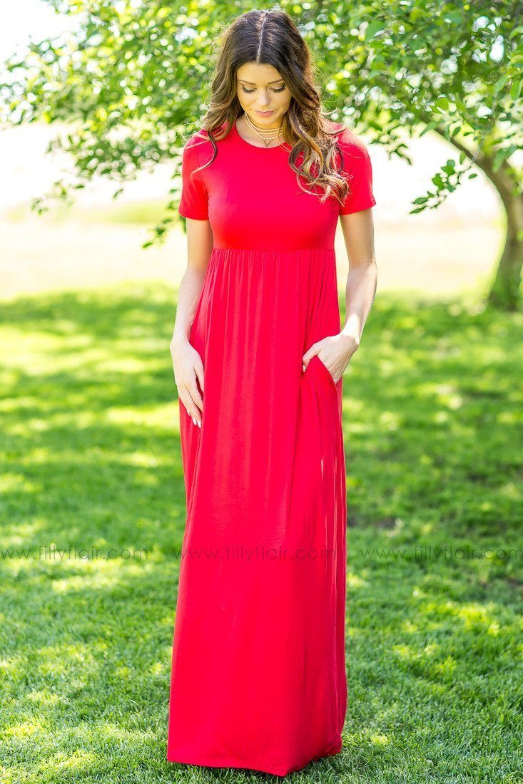 Pride in Red Solid Maxi Dress
