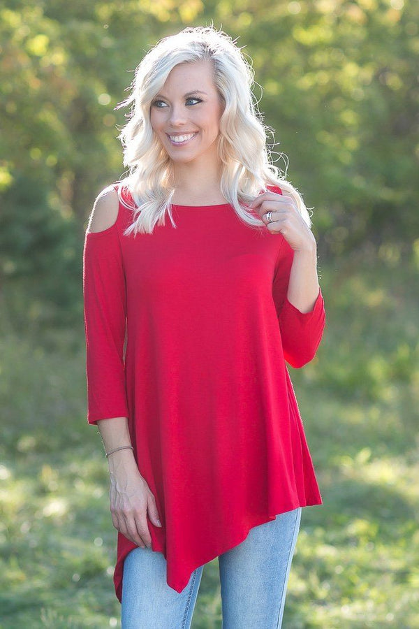 Dreamy Days Asymmetrical Top in Red