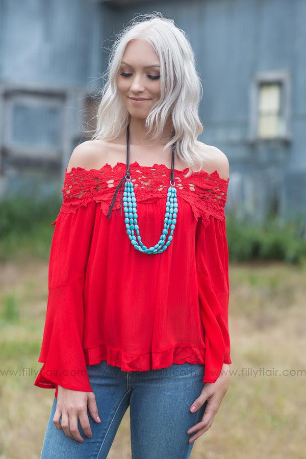 Loving Him Was Red Off the Shoulder Lace Top - Filly Flair