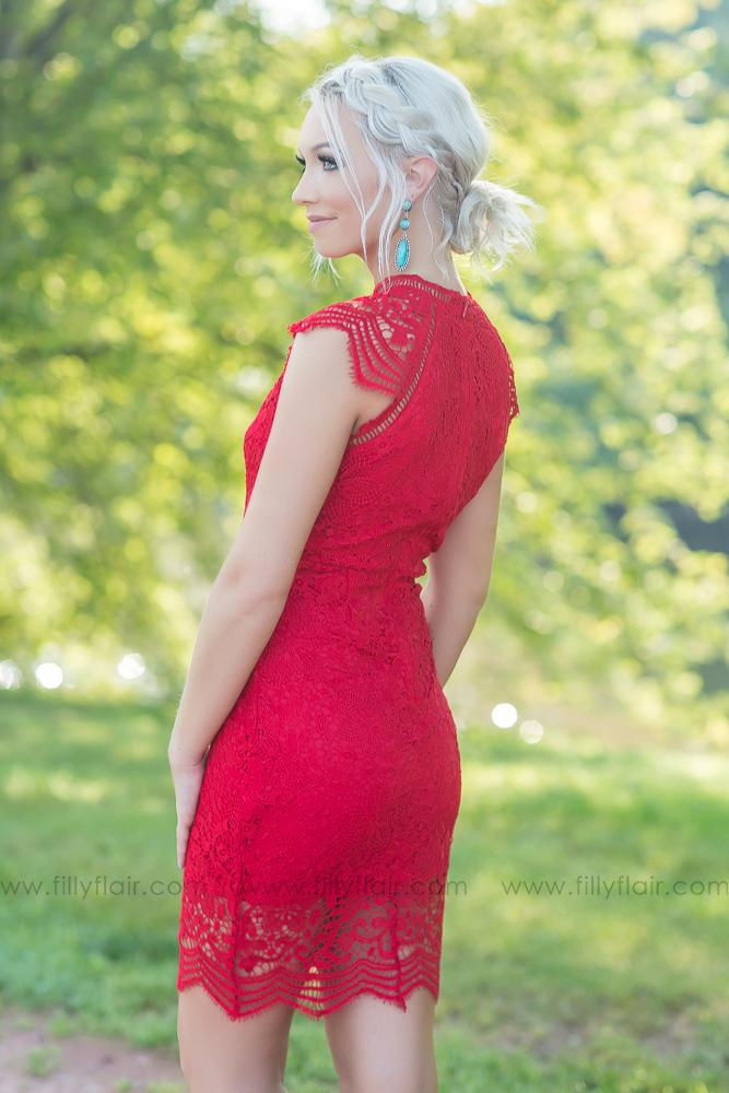 Classic Love Crochet Dress in Red - Filly Flair