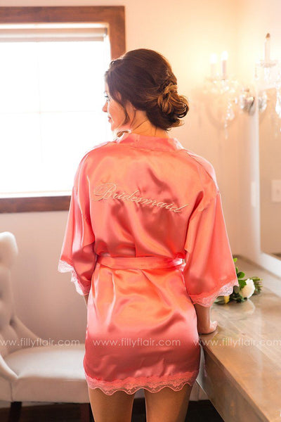 Bridesmaid Robe in Coral - Filly Flair