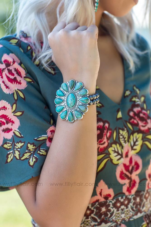 Holding On To You Authentic Turquoise Flower Stone Bracelet - Filly Flair