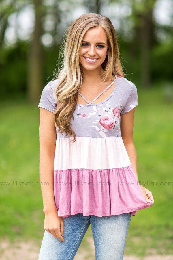 Sweet Rose Floral Striped Top