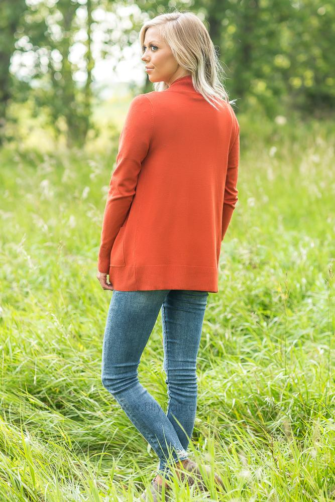 Wildest Dreams Open Short Cardigan With Pockets In Rust - Filly Flair