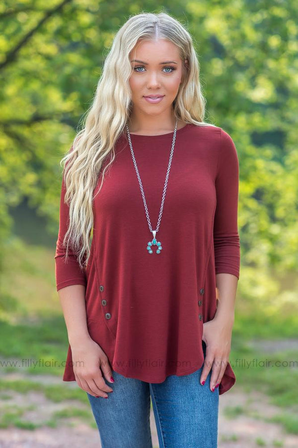 Button Love 3/4 Sleeve Top in Fired Brick - Filly Flair