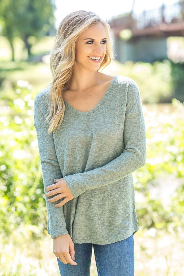 Super Soft Olive Long Sleeve V Neck Sweater
