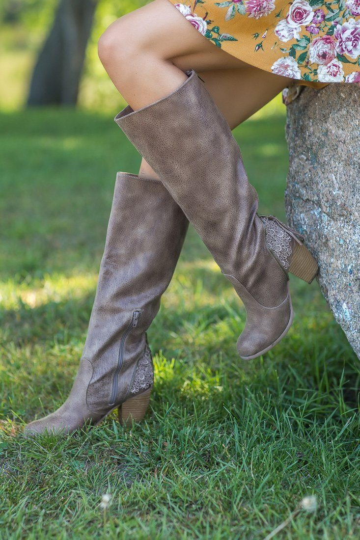 Sass It Up Not Rated Tall Boots in Taupe - Filly Flair