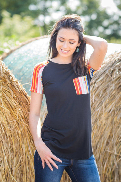 Carrying Your Love With Me Striped Sleeve Pocket Top in Black - Filly Flair