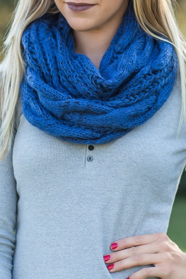 One Sweet Day Knitted Infinity Scarf In Blue