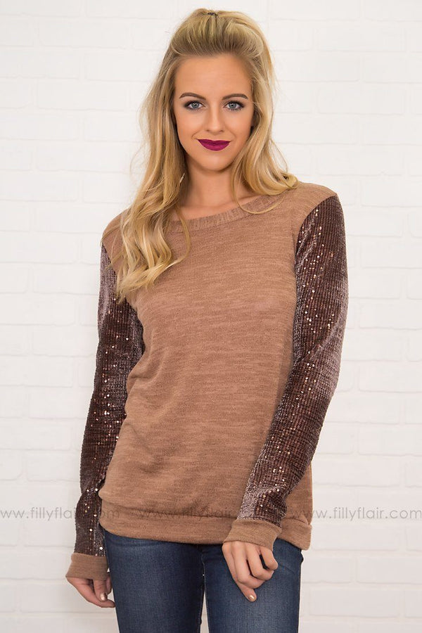 Chanel Sequin Long Sleeve Top in Camel