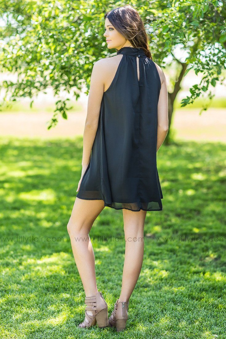 High On You Black Halter Style Dress