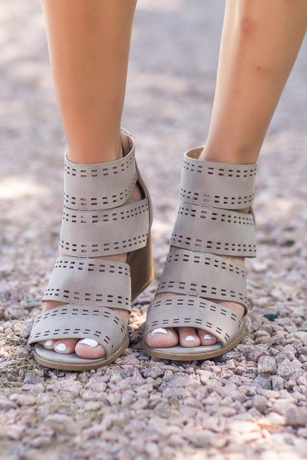 Back to You Open Toe Booties in Taupe