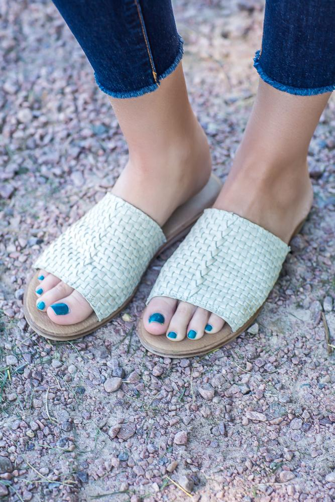 Say Something Leather Slides in Ivory - Filly Flair