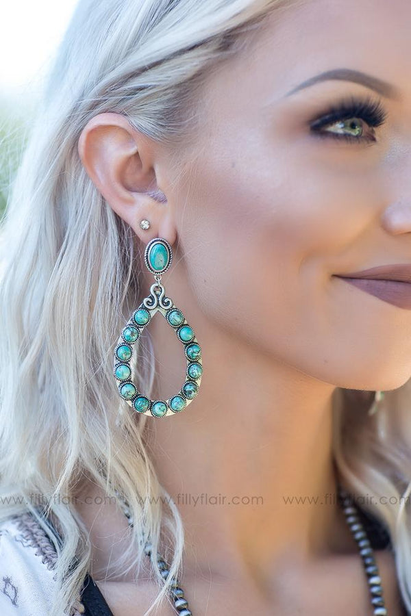 Look At You Authentic Turquoise Silver Looped Beaded Earrings - Filly Flair