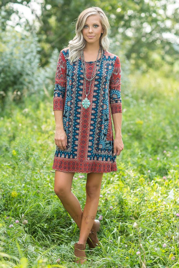 Heartbreak of the Town Printed Tunic Dress - Filly Flair