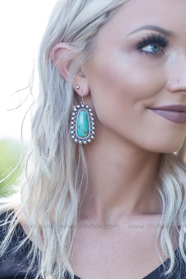 All I Ever Need Silver Beaded Authentic Turquoise Stone Earrings - Filly Flair