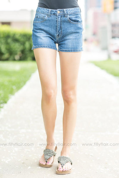 Ready for Summer Medium Wash Medium Rise Jean Shorts - Filly Flair