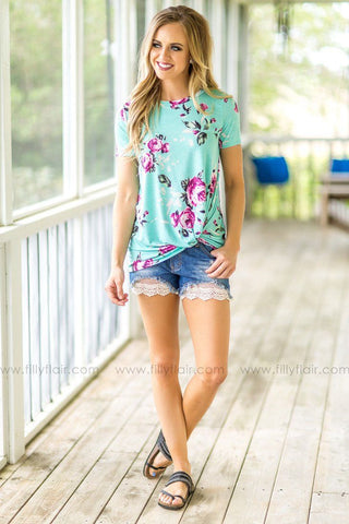 Love is More Floral Print Baby Doll Top in Taupe