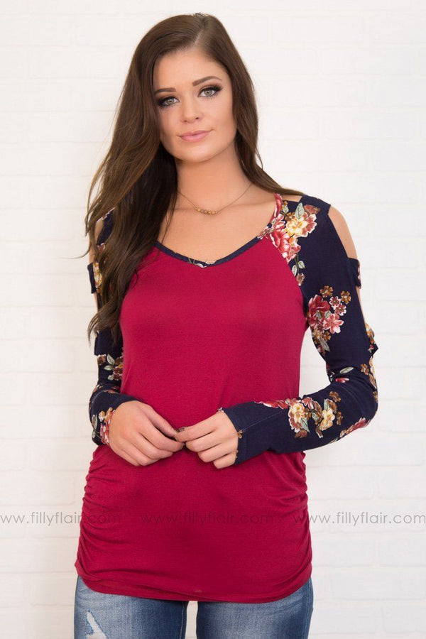 Garden Floral Cut Out Top In Burgundy
