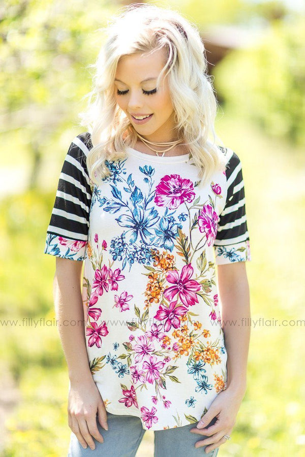 Romantic Ways Floral Striped Tee