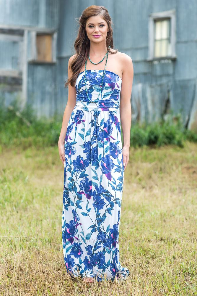 Timing is Everything Floral Strapless Maxi Dress in Ivory Blue - Filly Flair