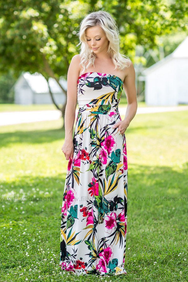 Away in Paradise Cream Pink Green Floral Printed Strapless Maxi Dress