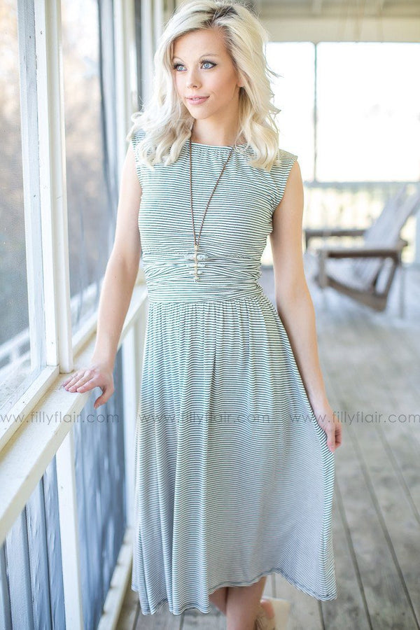 grey striped boutique dress