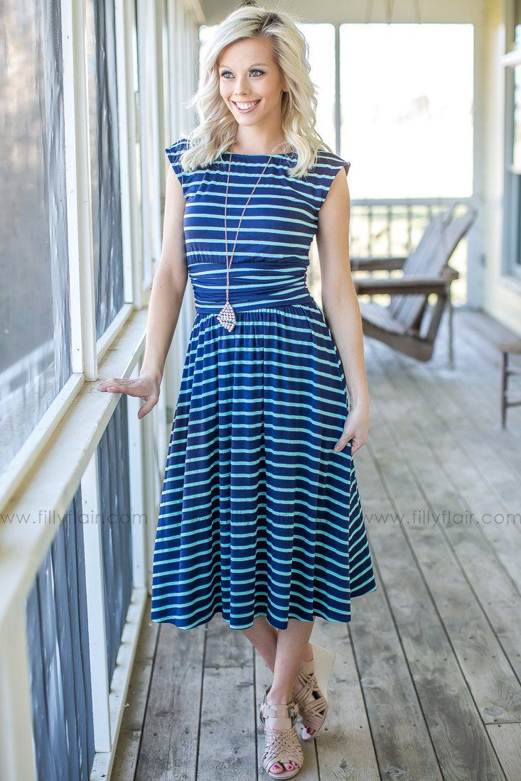 Striped Dress in Navy and mint
