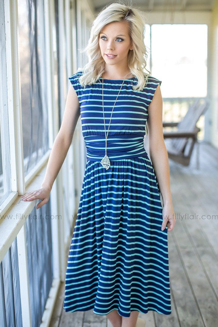 Navy and Mint Striped Boutique Dress