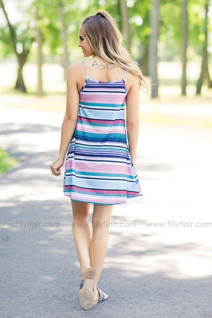 Candy Shoppe Multi Color Striped Dress