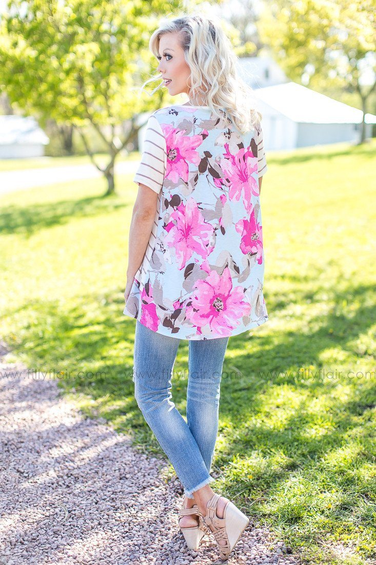 Get Back Floral Striped Tee