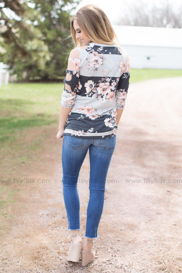Happy Days Floral Top in Charcoal