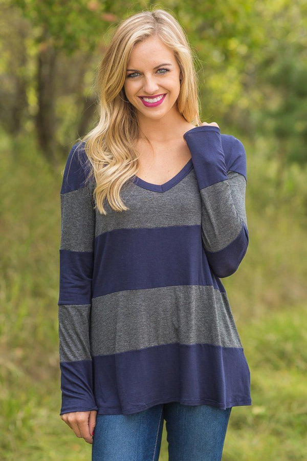 Navy Charcoal Striped Long Sleeve V Neck Top